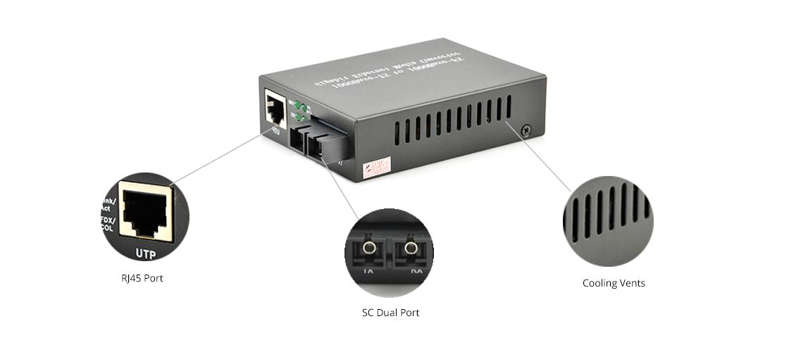 UnmanagedMediaConverters 10/100/1000M 1SC+1RJ45 Ports Unmanaged Media Converter