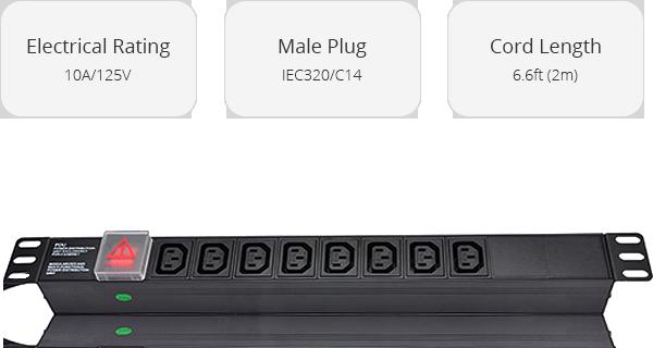 PDU Power Strips    8 IEC320 C13 Outlets Rack Mount Unit Power Strip