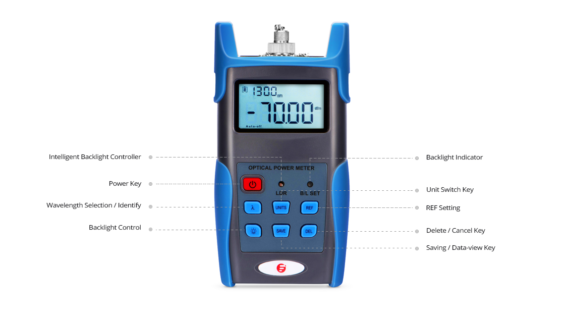 Optical Power Meter  High Precision of Colored LCD display