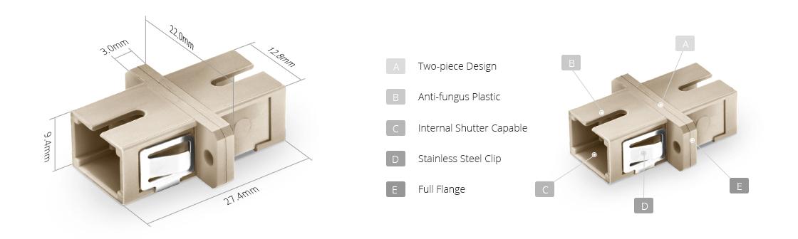 Adaptateurs/Coupleurs Fibres Optiques Adaptateur à Fibre Optique