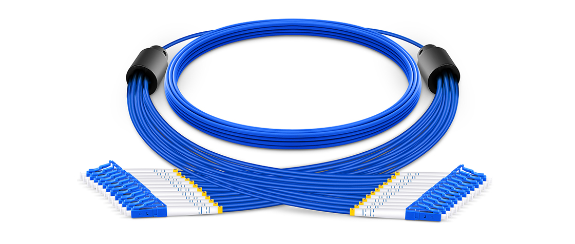 Indoor/Outdoor Multifiber Cables Pre-terminated Armored Breakout Cable