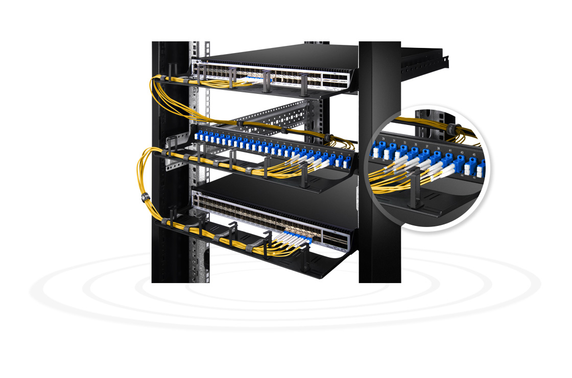"FHU 1U Patch Panels  Small Device to High-effective Management- 48 Fibers 1U 19"" 24 Port Fiber Patch Panel"