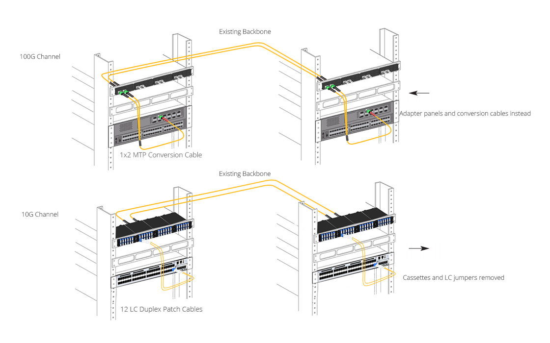 MTP Conversion Cables    1X2 MTP Conversion Cable Designed for 100G Transmission