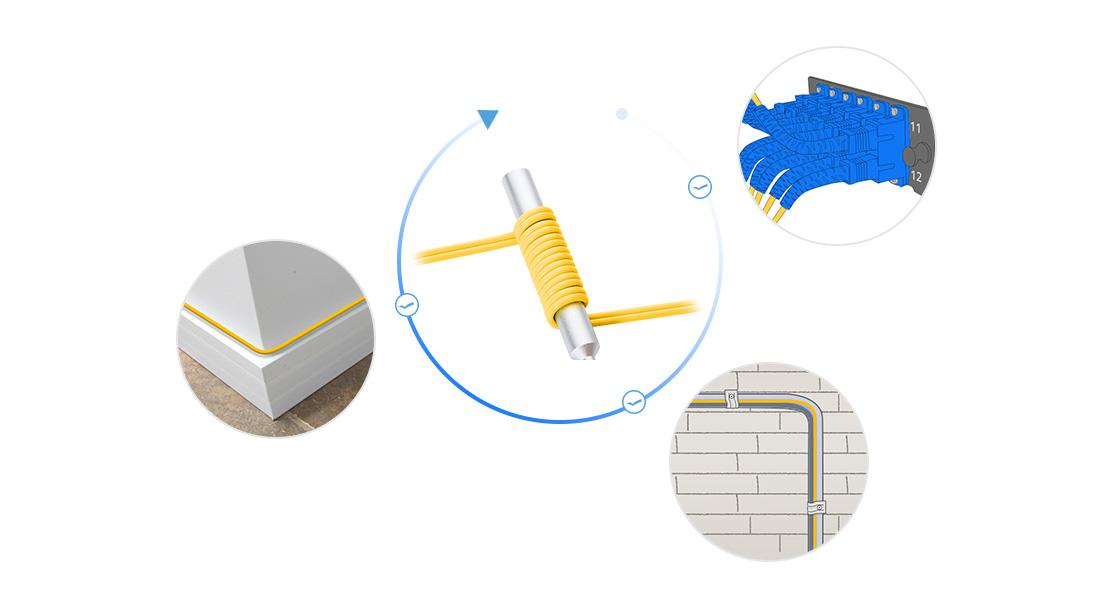 Cables insensibles a la curvatura Diseño innovador para cableado más pequeño y más denso: el cable de fibra estándar puede dañarse cuando se cablea en espacios reducidos y esquinas afiladas. Pero BIF resuelve el problema y protege la instalación y ejecución de su cable.