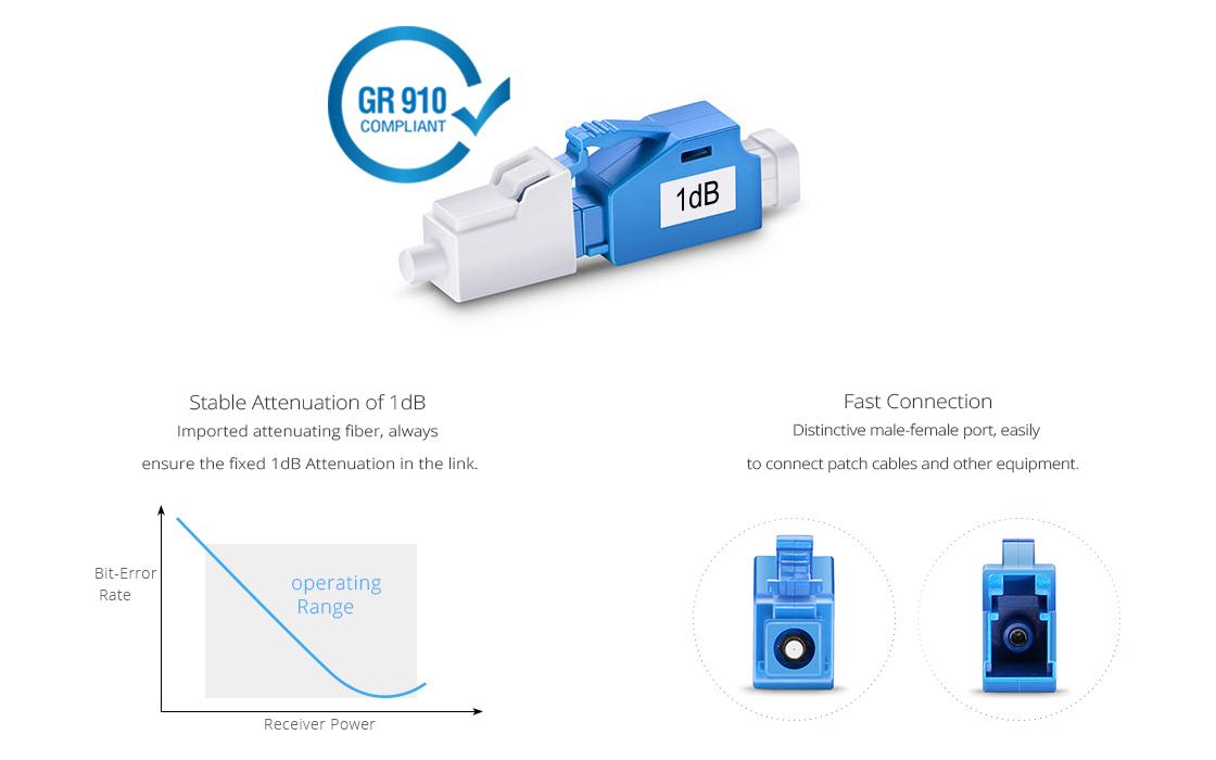 Atenuador de Fibra Óptica  Atenuador de fibra óptica fijado LC/UPC monomodo, 1dB
