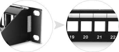Leere Keystone-Patchpanel   Vernickeltes Stahl-Panel und Vornummerierte Ports