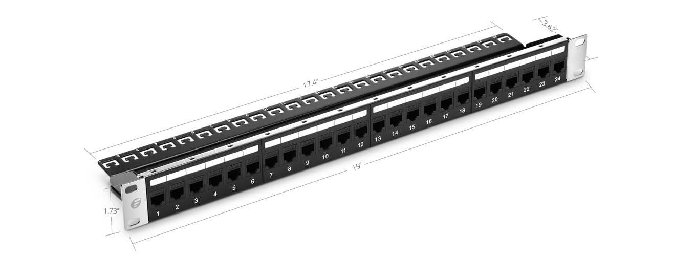Cat6 Patch Panels  24 Ports Unshielded Cat6 Feed-Through Patch Panel