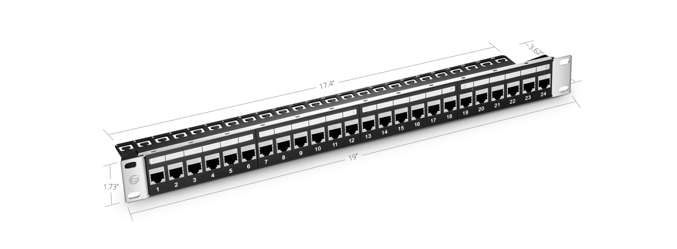 Cat5e Patch Panels  24 Ports Shielded Cat5e Feed-Through Patch Panel