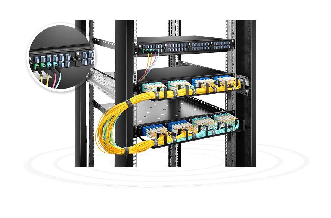 FHD LC SC MTP FAPs  Parches de factor de forma pequeño para redes troncales de fibra óptica