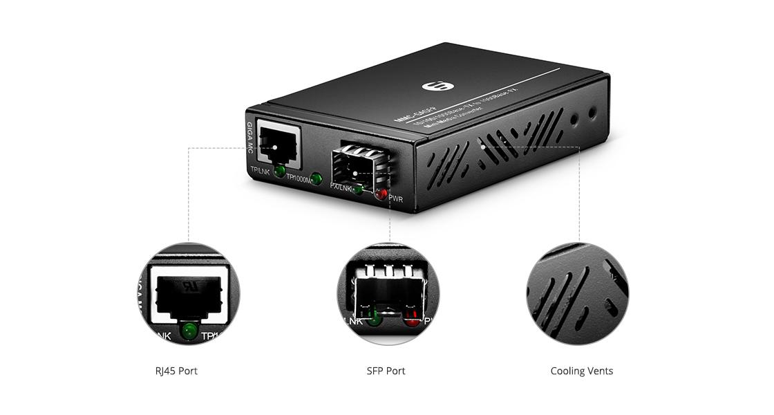 ミニメディアコンバーター  10/100/1000M 1SFP+1RJ45 ポートミニ ギガビットイーサネット メディアコンバータ