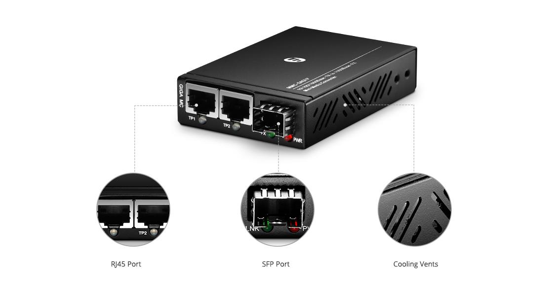 Мини Медиаконвертеры  10/100/1000M 1SFP+2RJ45 Портовый Мини Гигабитный Ethernet Медиаконвертер
