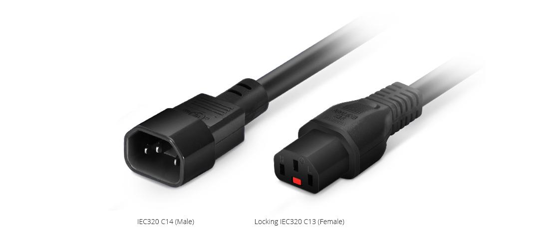 Locking Power Cords  IEC320 C14 to Locking IEC320 C13 Power Extension Cord