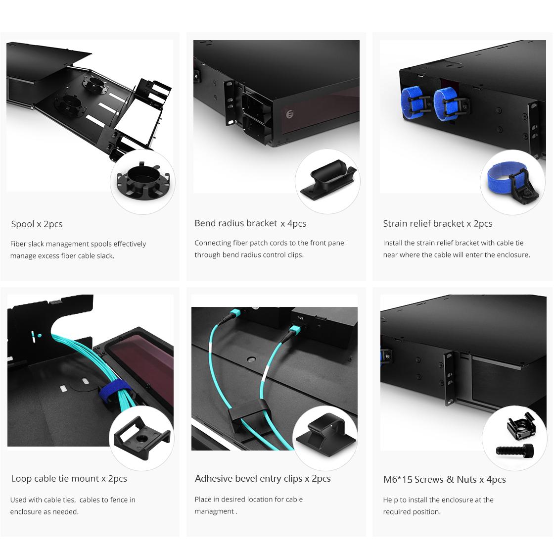 FHD montaje en rack  Accesorios incluidos en el distribuidor de fibra óptica