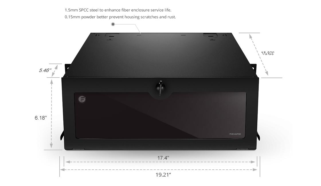 FHD Rack-Gehäuse  Schwarze pulverbeschichtete SPCC Robustes Stahlgehäuse