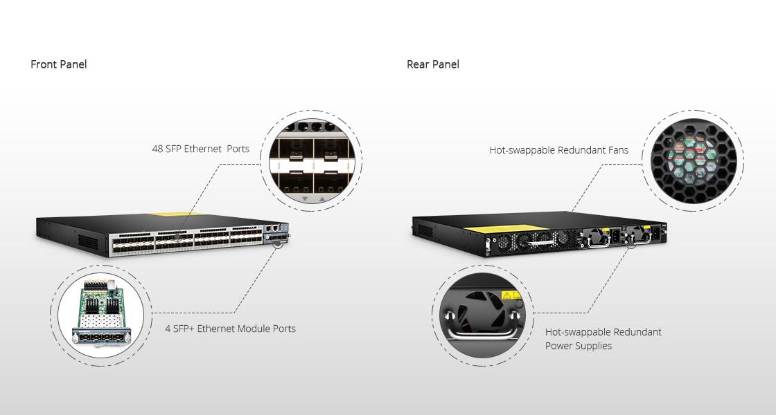 10Gスイッチ  フロントパネルとリアパネルの概要