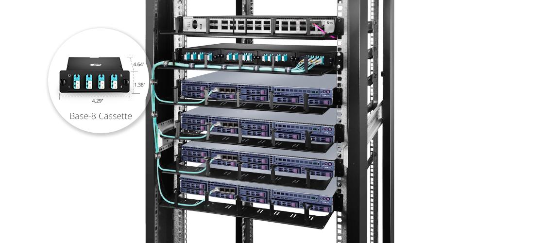 FHD MTP/MPO Cassettes  100% Fiber Utilization - Leaf & Spine Connectivity