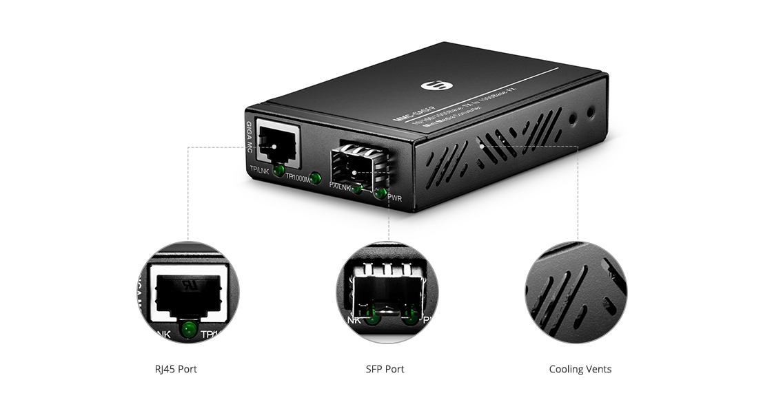 Convertisseurs de Média Mini  Mini Convertisseur de Média Gigabit Ethernet 10/100/1000M 1SFP+1RJ45 Ports