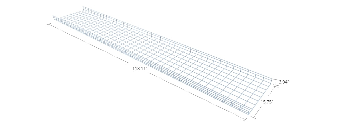 Wire Mesh Cable Tray  400mm Straight Section Wire Mesh Cable Tray