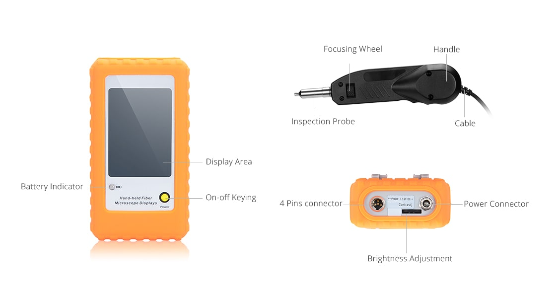 Fiber Optic Inspection Front Body of the Handheld Fiber Optic Inspection Probe Microscope