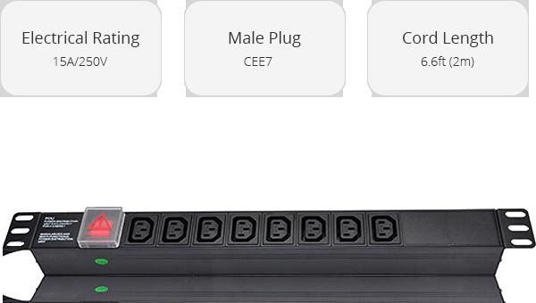 Unidad de Distribución de Energía    8 tomacorrientes IEC320 C13 en montaje en rack Unidad de regleta de alimentación
