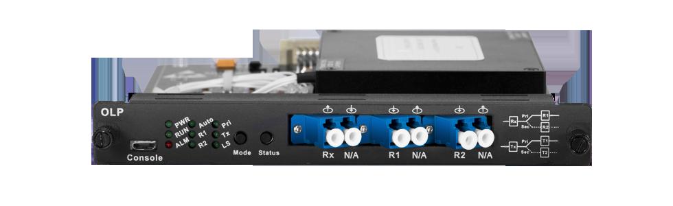 光回線保護 1U/2U/4Uマネージシャーシに配置された光回線保護モジュール