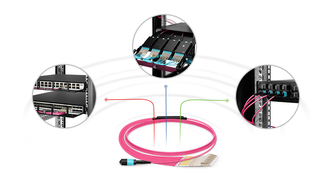 Customized MTP®/MPO Fiber Cables High Performance Multifiber Push On Solution