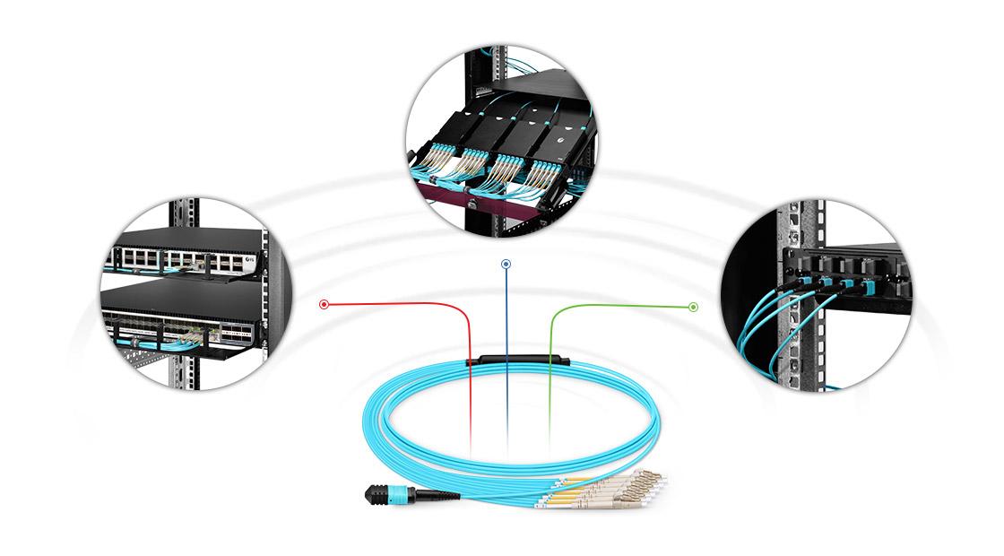 Maßgeschneiderte MPO LWL-Patchkabel  Hochleistungsfähige Multifaser Push-On-Lösung