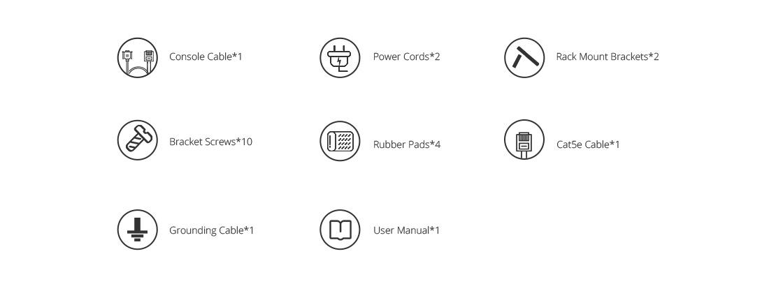 Switches 10 Gigabit Ethernet  Lista de accesorios