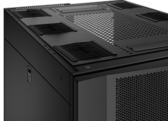 Server/Network Cabinets Top panel has generous cable access holes. Panel can be removed toollessly in seconds.