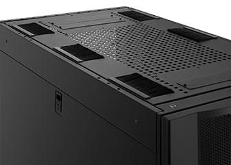 Gabinetes para servidores y red El panel superior cuenta con orificios de acceso para los cables. Se puede desmontar fácilmente sin herramientas.