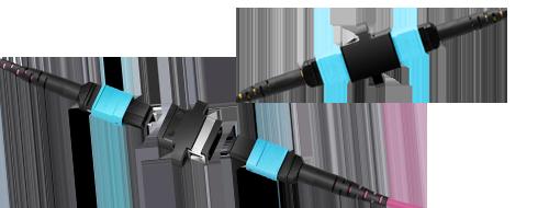 Adaptadores/Acopladores  Simplemente conectando dos cables de fibra óptica