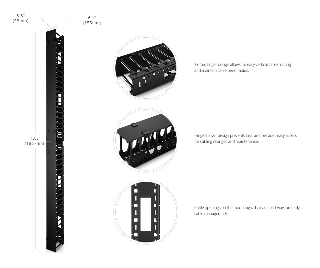 Shelves & Accessories High Capacity Design for Cable Management