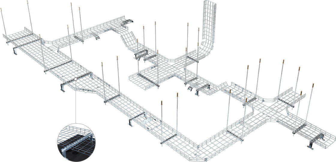 Wire Mesh Cable Tray  Easy-to-install  Cable Management