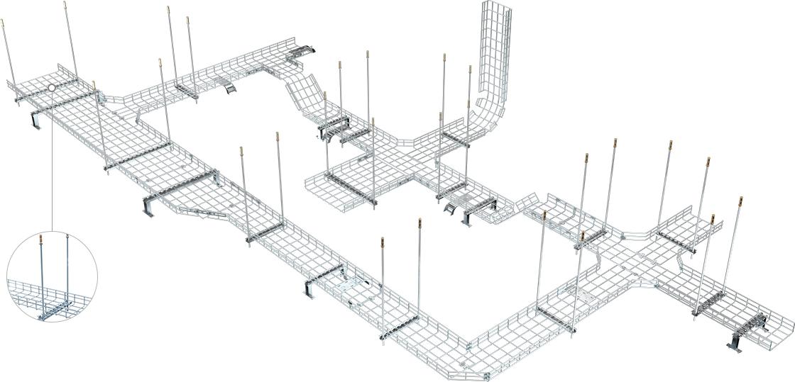 Drahtgitter-Kabelrinne  Einfach zu installierender Kabelmanager