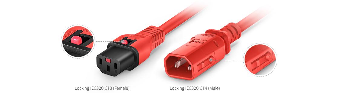 Locking Power Cords  Dual Locking IEC320 C14 to C13 Power Extension Cord