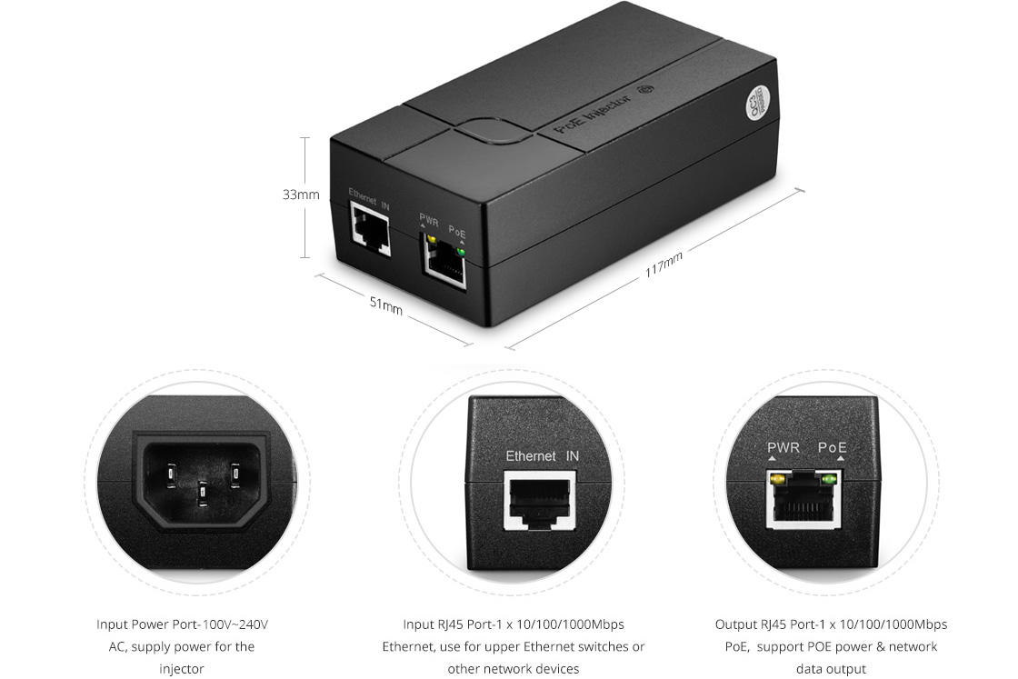Divisores/Inyectores PoE    Inyector de PoE Gigabit de puerto único 10/100/1000M