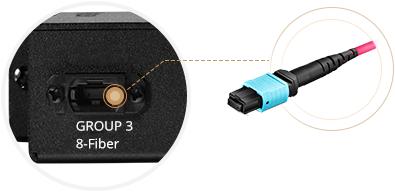 LWL-Kassetten  Rückseite - Base-8-MTP®-Ports für parallele Verbindungen
