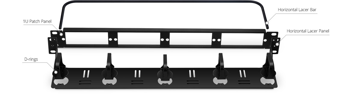 Horizontal Cable Manager  Detachable Horizontal Cable Management Panel