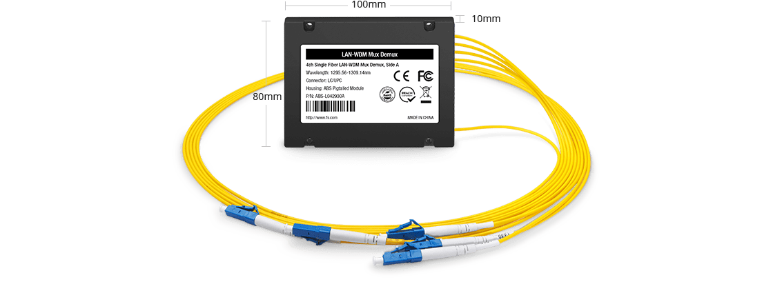 LWDM波長合分波モジュール シングルファイバ上の4チャネルMux/Demux