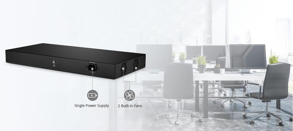 Switches 1G/10G Ventiladores incorporados y fuente de alimentación única