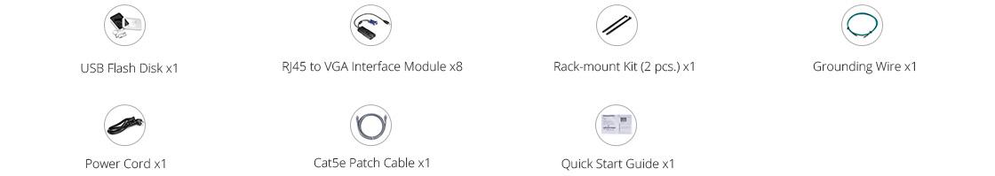 Switches Cat5 KVM Lista de empaque