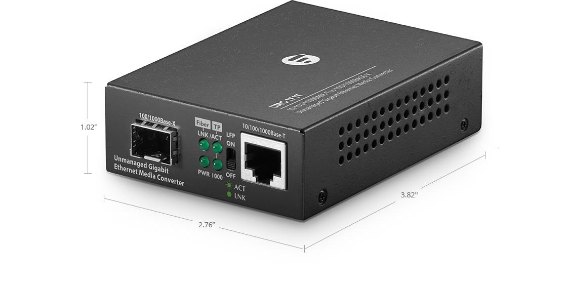 UnmanagedMediaConverters Unmanaged 1x RJ45 to 1x SFP Gigabit Ethernet Media Converter