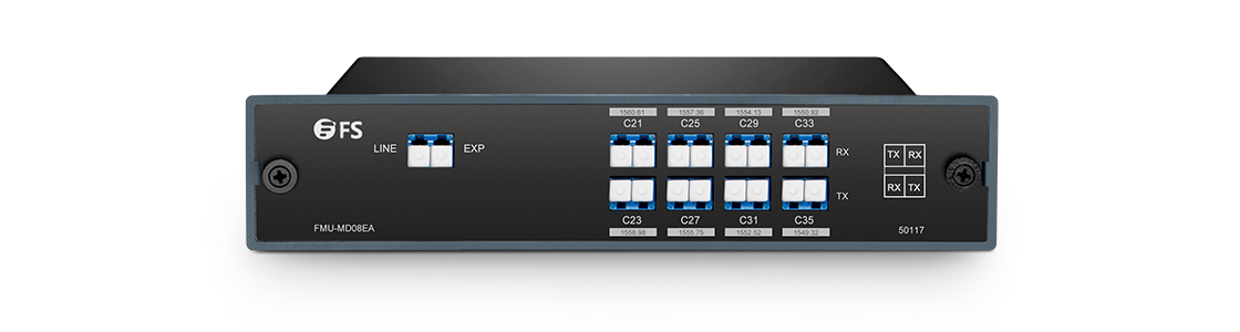 DWDM波長合分波モジュール ペアでシングルファイバ上の8チャネルMux/Demux