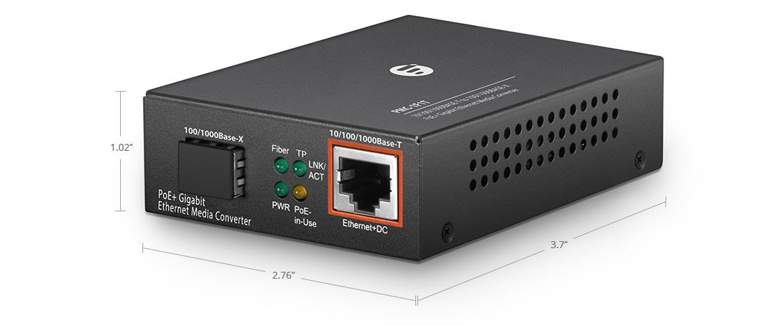 PoE Media Converters 1x RJ45 to 1x SFP Gigabit PoE+ Ethernet Media Converter