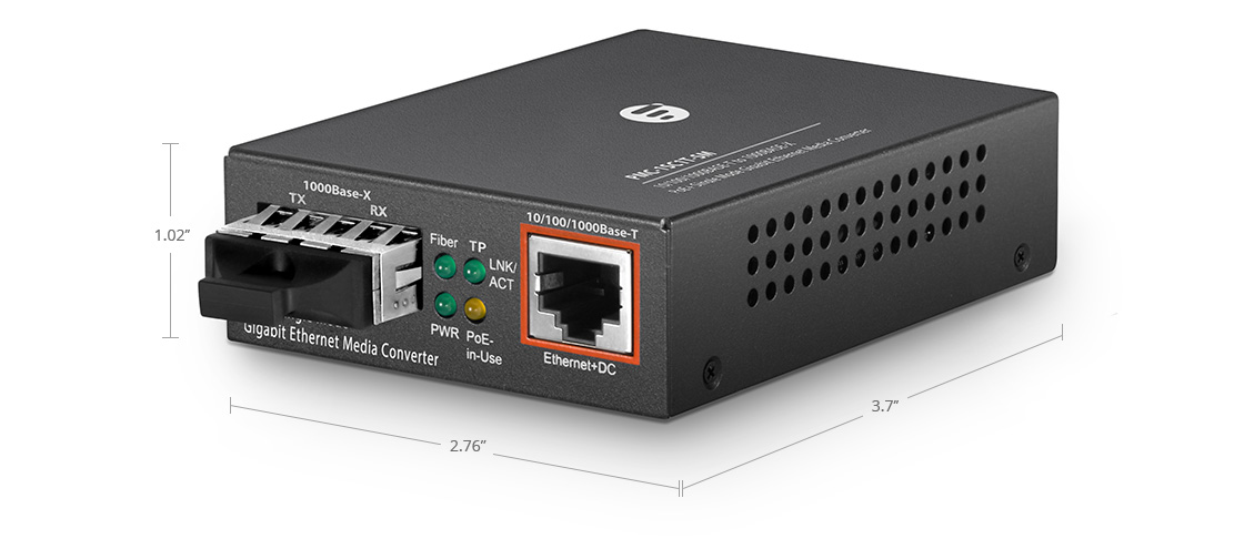 PoE Media Converters 1x RJ45 to 1x SC Gigabit PoE+ Ethernet Media Converter