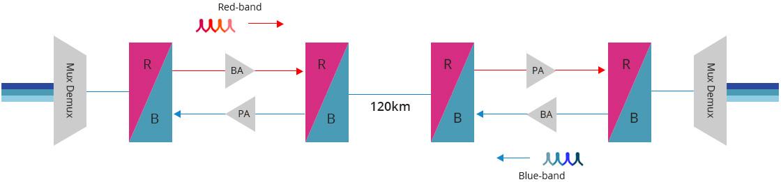 DWDM filtro rojo/azul Amplifica las señales bidireccionales de la solución de fibra única DWDM