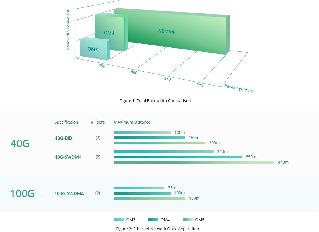 MTP®/MPOトランクケーブル OM5は複数の波長とさらなる距離を対応します