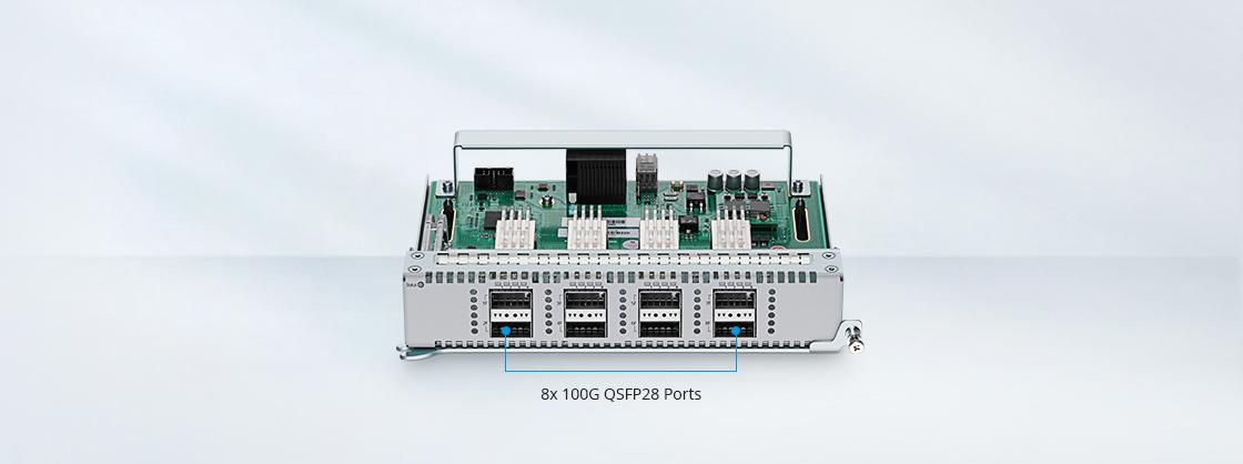 Switches 100G Tarjeta de línea de alta velocidad con 8 puertos de 100G
