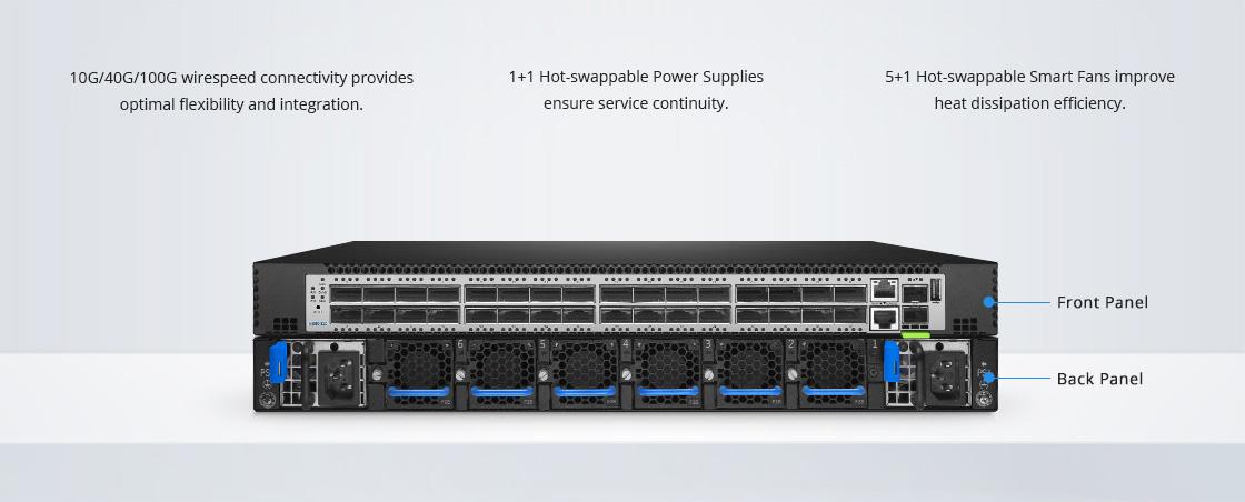 100Gスイッチ 信頼性の高い工業用グレードのハードウェアアーキテクチャ