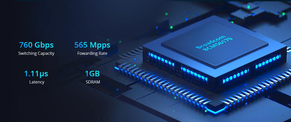 1G/10Gスイッチ Broadcom BCM56170スイッチチップ